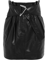 IRO Humami Belted Pleated Leather Mini Skirt - Black