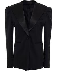 Dundas Satin-trimmed Wool-blend Blazer - Black
