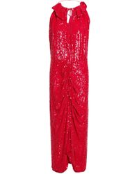 Magda Butrym Hilo Ruffle-trimmed Ruched Sequined Crepe Midi Dress Red