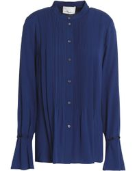 ab93f2c3ff7e9 3.1 Phillip Lim Woman Pintuked Silk Blouse Royal Blue in Blue - Lyst