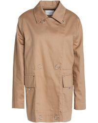 Sandro - Double-breasted Cotton-gabardine Jacket Light Brown - Lyst