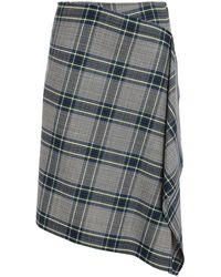 Cedric Charlier Asymmetric Draped Checked Woven Skirt Grey