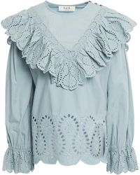Sea Ruffled Broderie Anglaise Cotton Top - Blue