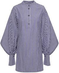 Palmer//Harding Gathered Striped Cotton-poplin Blouse - White
