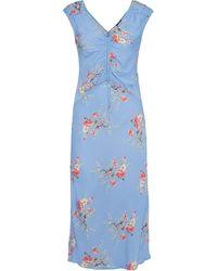 Love Sam Ruched Floral-print Crepe De Chine Midi Dress - Blue