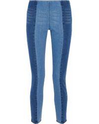 By Malene Birger - Woman Two-tone High-rise Slim-leg Jeans Mid Denim - Lyst