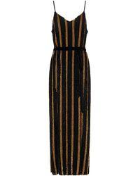 retroféte - Retrofête Rebecca Velvet-trimmed Striped Sequined Chiffon Maxi Dress - Lyst