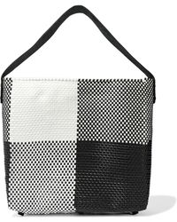 Truss Leather-trimmed Checked Woven Tote Black