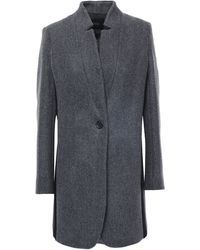 Maje Wool-blend Felt Coat Anthracite - Gray
