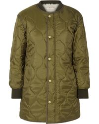 Tory Burch Rylee Shell And Faux-shearling Coat Army Green
