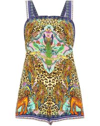 Camilla Crystal-embellished Printed Silk Crepe De Chine Playsuit Animal Print - Multicolour