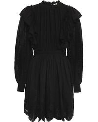 Ulla Johnson Dorithie Ruffled Broderie Anglaise Cotton Mini Dress Black