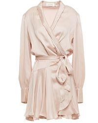 Zimmermann Washed-silk Mini Warp Dress Pastel Pink