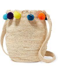 Muzungu Sisters Pompom-embellished Woven Straw Shoulder Bag - Multicolour