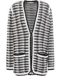 Maje Two-tone Crochet-knit Cotton-blend Cardigan Black