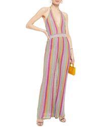 M Missoni Metallic Striped Crochet-knit Halterneck Jumpsuit - Multicolour