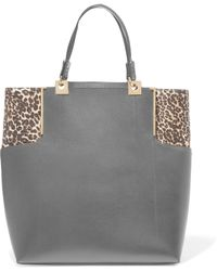Lanvin - Calf Hair-trimmed Textured-leather Tote - Lyst