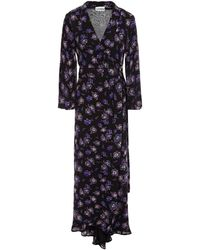Ganni Floral-print Georgette Maxi Wrap Dress - Black