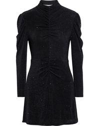 IRO Hasti Ruched Metallic Stretch-knit Mini Dress - Black