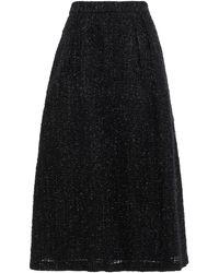 Co. Metallic Tweed Midi Skirt - Black