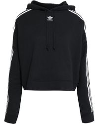 adidas Originals Striped French Cotton-terry Hoodie Black
