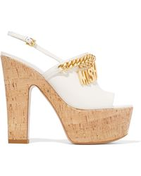Moschino Embellished Leather Platform Sandals - White