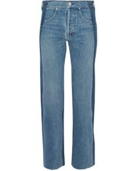 Helmut Lang - Two-tone High-rise Straight-leg Jeans - Lyst