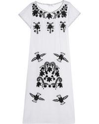 Sensi Studio Embroidered Cotton Maxi Dress - White