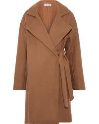 Diane von Furstenberg - Woman Belted Wool-blend Felt Coat Camel - Lyst
