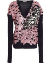 Emilio Pucci - Embroidered Sequin Embellished Wool, Silk, And Cashmere-blend Top - Lyst