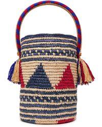 Yosuzi Sonora Tasseled Woven Straw Bucket Bag Royal Blue