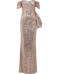 Badgley Mischka Off-the-shoulder Knotted Sequined Tulle Gown Rose Gold - Multicolor