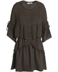 IRO - Tiered Chiffon-paneled Crepe De Chine Peplum Mini Dress Army Green - Lyst