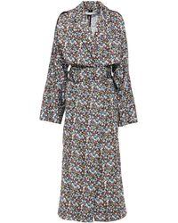 Victoria Beckham Belted Floral-print Shell Trench Coat - Black