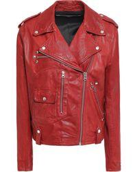 McQ Studded Leather Biker Jacket Brick - Red