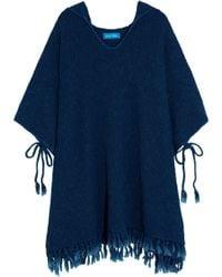 M.i.h Jeans - Malaquite Cotton-blend Hooded Poncho Storm Blue Size M/l - Lyst