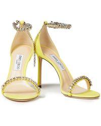 Jimmy Choo Shiloh 100 sandalen aus veloursleder mit kristallverzierung - Gelb