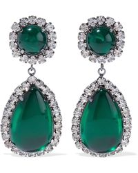 Kenneth Jay Lane - Gunmetal-tone, Stone And Crystal Clip Earrings Emerald - Lyst