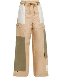 Ganni Gathered Panelled Cotton-poplin Wide-leg Trousers - Natural