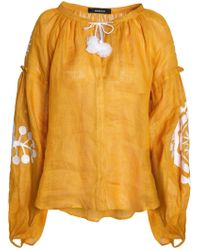MARCH11 - Gathered Embroidered Linen Tunic - Lyst