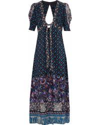 Anna Sui Woman Open-back Printed Silk Robe Indigo - Blue