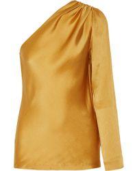 Cushnie et Ochs One-shoulder Silk-satin Top - Multicolour