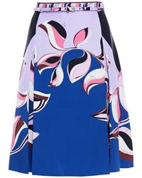 Emilio Pucci Belted Printed Silk-twill Skirt - Blue