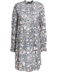 Just Cavalli - Pleated Leopard-print Cotton Mini Dress - Lyst