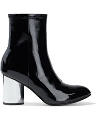 Opening Ceremony Dylan Crinkled Patent-leather Sock Boots Black