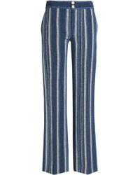 Chloé - Striped Cotton-blend Flared Pants - Lyst