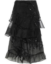 Preen By Thornton Bregazzi Louisa Tiered Crystal-embellished Silk-organza Skirt Black