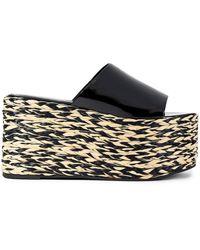 Simon Miller Out Leather Platform Wedge Sandals - Black