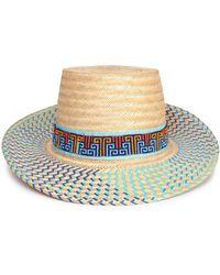 Yosuzi Bidika Bead-embellished Straw Sunhat Blue