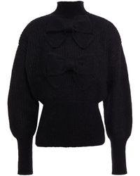 Zimmermann Bow-embellished Ribbed Mohair-blend Turtleneck Jumper Black